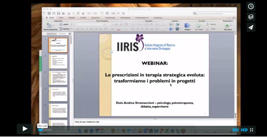 Seminario: le prescrizioni in terapia strategica evoluta